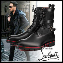 Christian Louboutin Plain Toe Plain Leather Engineer Boots