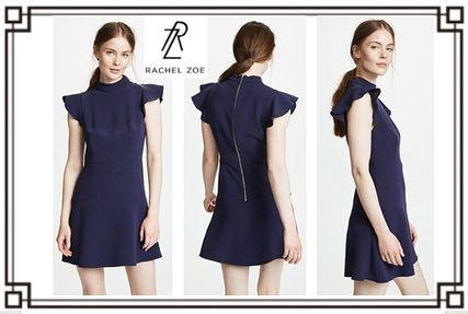 Short U-Neck Plain Short Sleeves Dresses