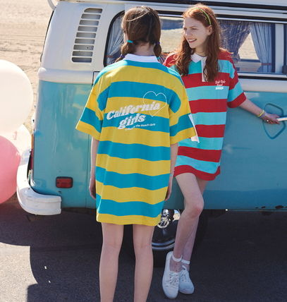 Stripes Casual Style Cotton Short Sleeves Dresses
