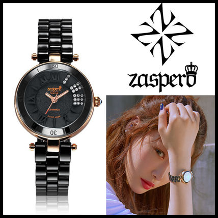Round Ceramic Elegant Style Analog Watches