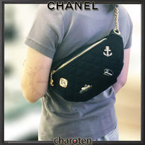 CHANEL ICON Stripes Unisex Lambskin Blended Fabrics Chain Plain