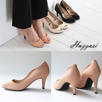 Wedge Open Toe Handmade Peep Toe Pumps & Mules
