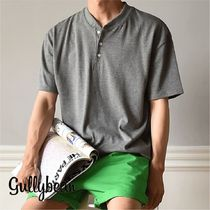 Henry Neck Street Style Plain Cotton Short Sleeves