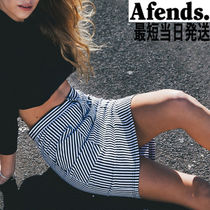 AFENDS Pencil Skirts Stripes Denim Medium Midi Skirts
