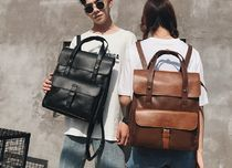 Unisex Faux Fur A4 2WAY Plain Backpacks