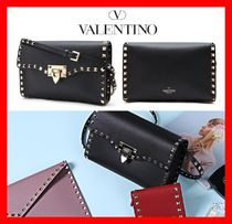VALENTINO Street Style Leather Elegant Style Shoulder Bags