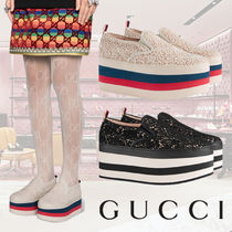 GUCCI Stripes Other Check Patterns Platform Round Toe Casual Style