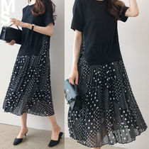 Crew Neck Dots Flared Long Short Sleeves Midi Office Style