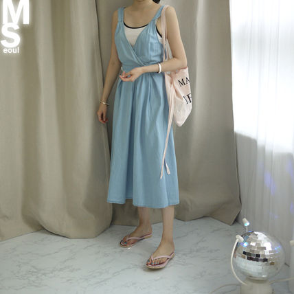 Dresses Casual Style Sleeveless V-Neck Plain Cotton Long Midi 2