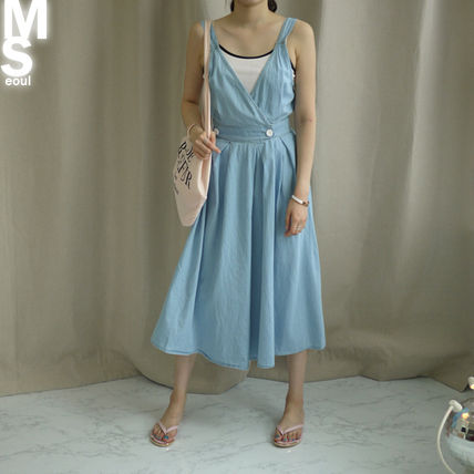 Dresses Casual Style Sleeveless V-Neck Plain Cotton Long Midi 4