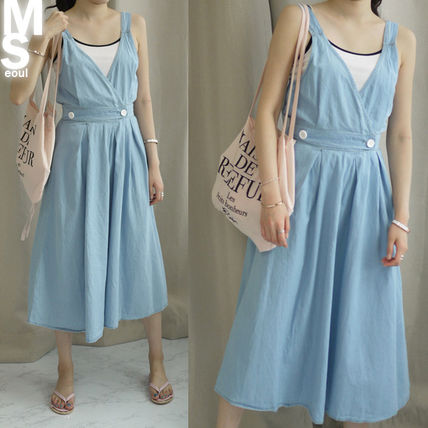 Dresses Casual Style Sleeveless V-Neck Plain Cotton Long Midi 7