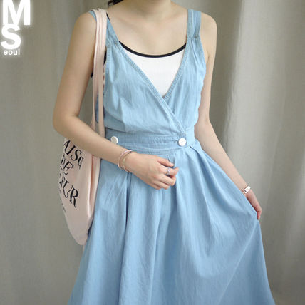 Dresses Casual Style Sleeveless V-Neck Plain Cotton Long Midi 8