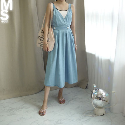 Dresses Casual Style Sleeveless V-Neck Plain Cotton Long Midi 9