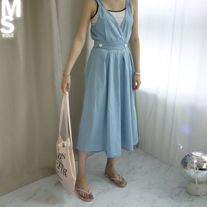 Dresses Casual Style Sleeveless V-Neck Plain Cotton Long Midi 11