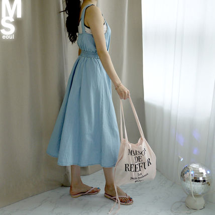 Dresses Casual Style Sleeveless V-Neck Plain Cotton Long Midi 12