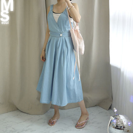 Dresses Casual Style Sleeveless V-Neck Plain Cotton Long Midi 15