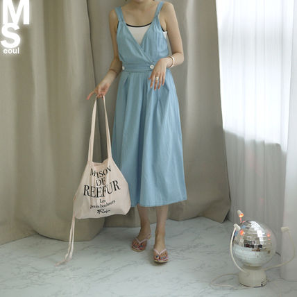 Dresses Casual Style Sleeveless V-Neck Plain Cotton Long Midi 16
