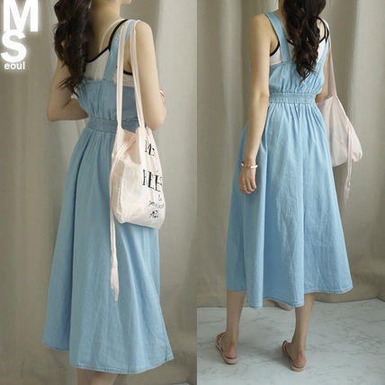 Dresses Casual Style Sleeveless V-Neck Plain Cotton Long Midi 17
