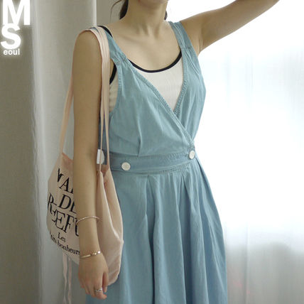 Dresses Casual Style Sleeveless V-Neck Plain Cotton Long Midi 18