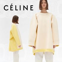 CELINE Crew Neck Street Style Bi-color Long Sleeves Cotton Medium