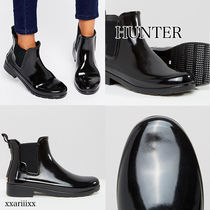 HUNTER Casual Style Enamel Street Style Plain Ankle & Booties Boots