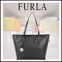FURLA A4 Plain Leather Office Style Totes