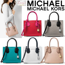 Michael Kors MERCER Casual Style Street Style 2WAY Bi-color Plain Leather