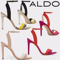 ALDO Open Toe Blended Fabrics Bi-color Plain Leather Pin Heels