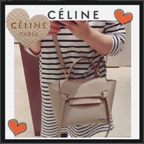 CELINE Belt Unisex Calfskin 3WAY Plain Elegant Style Shoulder Bags