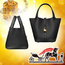 HERMES Picotin Blended Fabrics Plain Leather Elegant Style Handbags