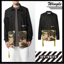 Off-White Camouflage Street Style Plain Cotton Shirts