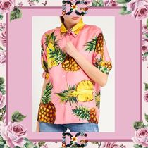 Dolce & Gabbana Tropical Patterns Casual Style Silk Short Sleeves