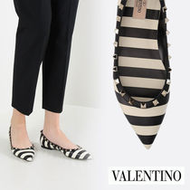 VALENTINO Stripes Casual Style Leather Slip-On Shoes