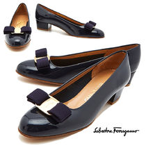 Salvatore Ferragamo Leather Elegant Style Kitten Heel Pumps & Mules