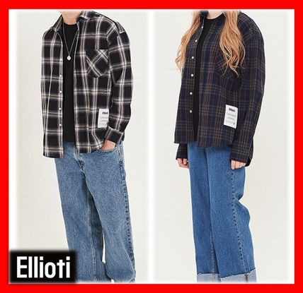 Casual Style Unisex Street Style Cotton Shirts & Blouses