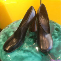 CELINE Round Toe Plain Leather Block Heels Elegant Style