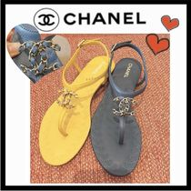 CHANEL ICON Casual Style Plain Leather Sandals Sandal