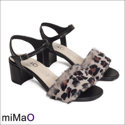 Leopard Patterns Open Toe Leather Heeled Sandals