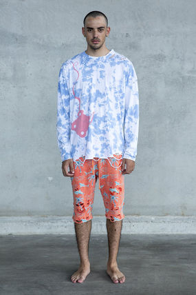 Crew Neck Pullovers Tropical Patterns Street Style Tie-dye