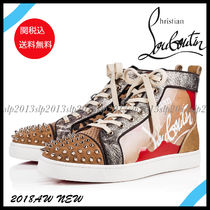 Christian Louboutin LOUIS Leopard Patterns Blended Fabrics PVC Clothing Sneakers