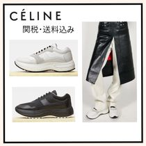 CELINE Casual Style Plain Leather Chunky Heels Low-Top Sneakers