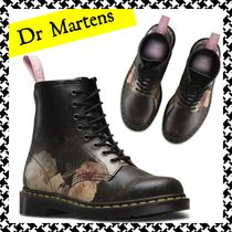 Dr Martens Flower Patterns Lace-up Casual Style Plain Lace-up Boots
