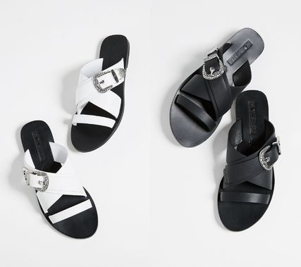 Open Toe Plain Leather Sandals
