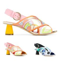 Emilio Pucci Tropical Patterns Open Toe Blended Fabrics Bi-color Leather