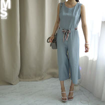 Crew Neck Dungarees Sleeveless Plain Long Midi Office Style