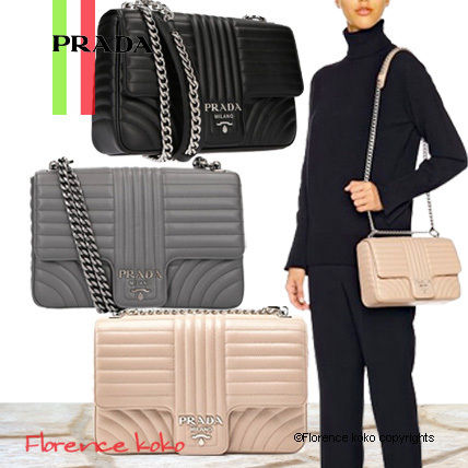 Calfskin 2WAY Chain Plain Elegant Style Shoulder Bags