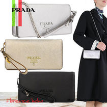 PRADA MONOCHROME  Saffiano 3WAY Chain Plain Elegant Style Shoulder Bags