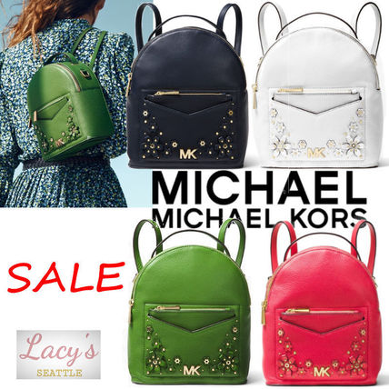 Michael Kors Backpacks Flower Patterns Casual Style Studded 3WAY Plain Leather