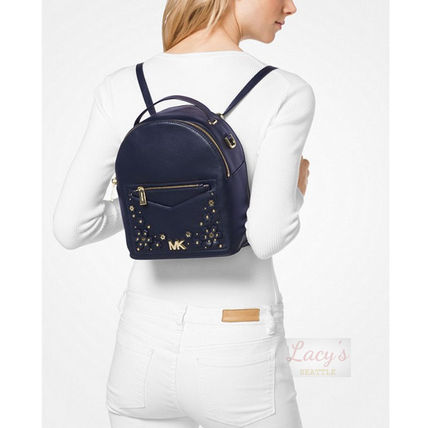 Michael Kors Backpacks Flower Patterns Casual Style Studded 3WAY Plain Leather 5