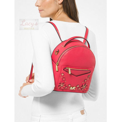Michael Kors Backpacks Flower Patterns Casual Style Studded 3WAY Plain Leather 8